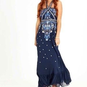 Altar'd State Corabeth navy embroidered maxi dress